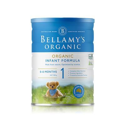 【3罐装】澳洲药房直邮包邮包税Bellamys贝拉米1段婴幼儿有机牛奶粉1段900g ×3罐 (0-12个月)