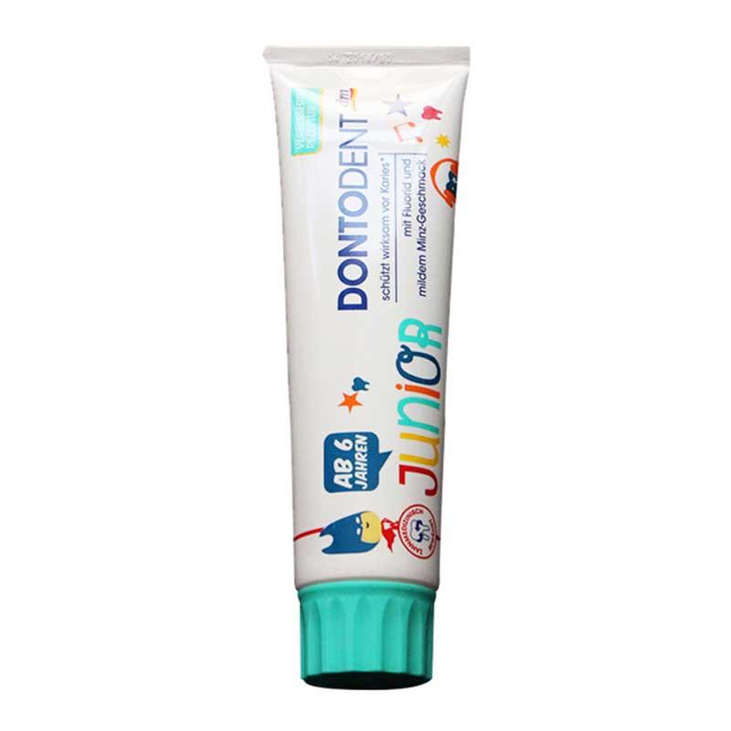 【国内现货】德国dm儿童可吞咽牙膏dontodent 6-12 岁蓝色100ml(薄荷味)