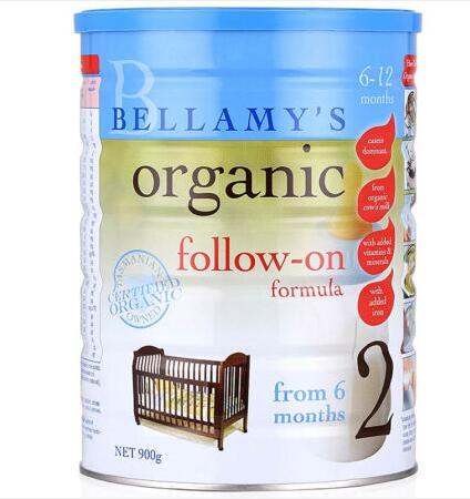 【6罐装】澳洲直邮包税 Bellamys贝拉米婴幼儿有机牛奶粉2段900g ×6罐 (6-12个月)