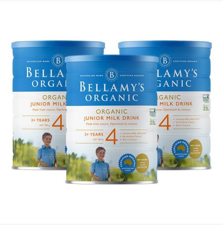 【3罐装】澳洲药房直邮包邮包税Bellamys贝拉米婴幼儿有机牛奶粉4段900g ×3罐 有机奶源 富含维生素 富含铁元素 有机认证