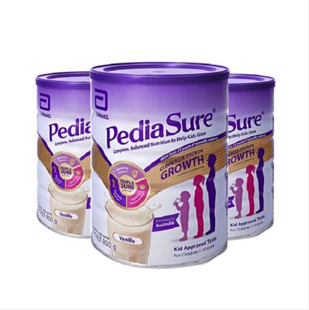 【跨境保税】3罐装 雅培(PediaSure)澳洲小安素1-10岁长高长壮营养奶粉香草味 850g