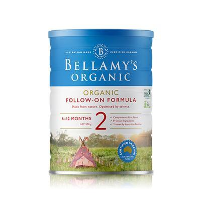 【3罐装】澳洲直邮包税 Bellamys贝拉米婴幼儿有机牛奶粉2段900g ×3罐 (6-12个月)