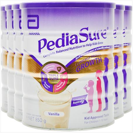 【6罐装】雅培(PediaSure)澳洲小安素1-10岁长高长壮营养奶粉 香草味850g