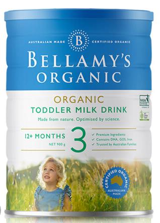 澳洲直邮包邮包税 Bellamys贝拉米3段婴幼儿有机牛奶粉3段 900g (1-3岁以上)