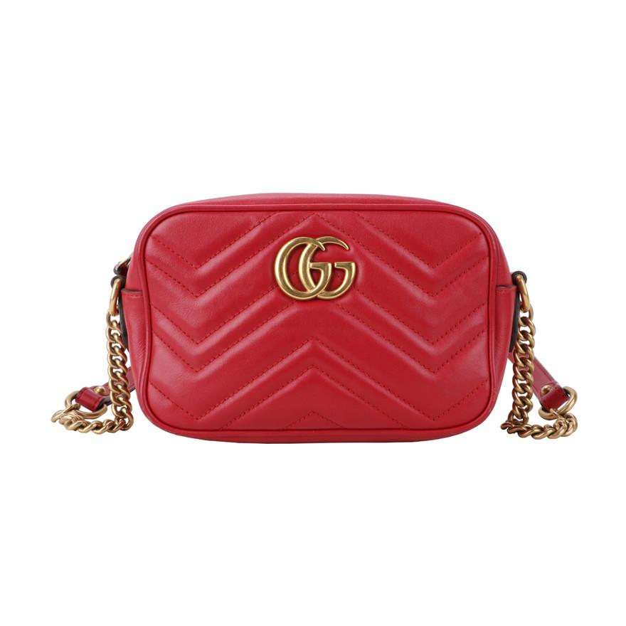 【爆款秒杀】古驰GUCCI 女士红色GG MARMONT MINI 单肩斜挎包 相机包