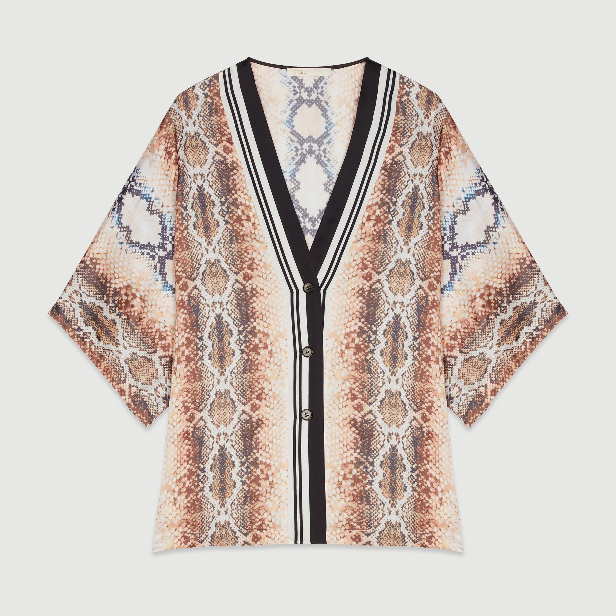 【国内现货】法国Maje 宽松蛇纹蝙蝠袖v领衬衫 1码