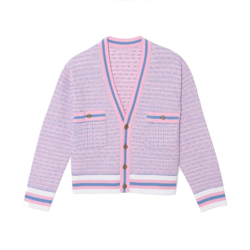 【国内现货】法国Sandro 小香风条纹拼色V领针织开衫外套 0码