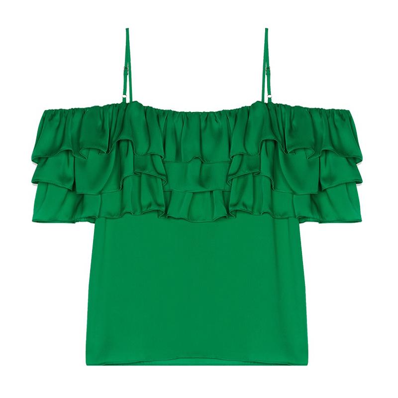 【国内现货】法国Maje 绿色荷叶叠层边一字肩吊带上衣 1码